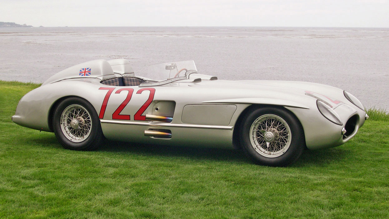 International racing legend stirling moss attends monterey for Mercedes benz 300 slr